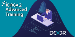 icinga2 Advanced Training banner. the person sits in front of the laptop. Dexor logo